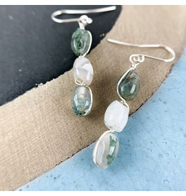Nicole Collodoro Moss Agate 3 Piece Earrings
