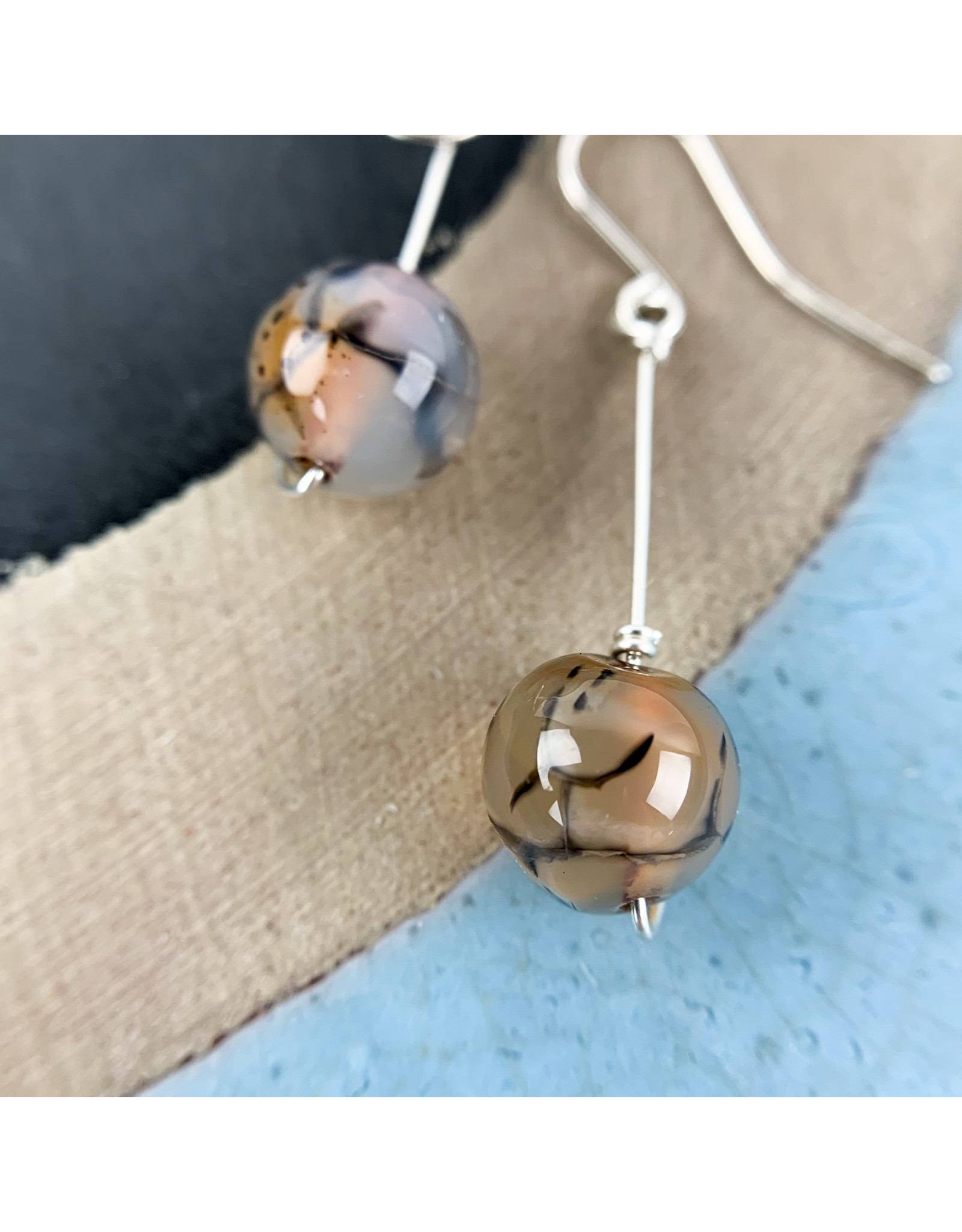 Nicole Collodoro Faceted agate sphere earrings