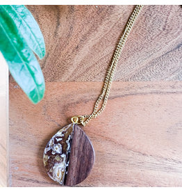 Peter Mielech Necklace - Gold and Brown Teardrop