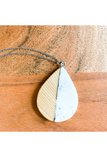 Peter Mielech Necklace - White and Wood Teardrop