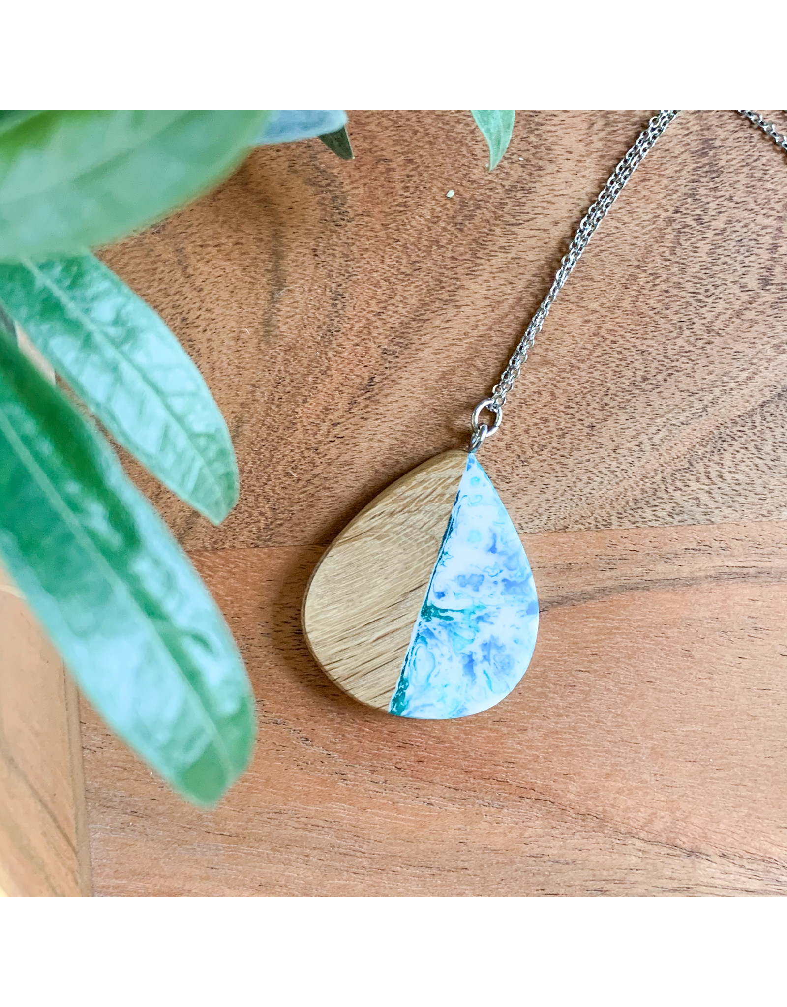 Peter Mielech Necklace - Blue and Wood Teardrop