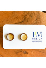 Peter Mielech Studs - Gold and White Crescent