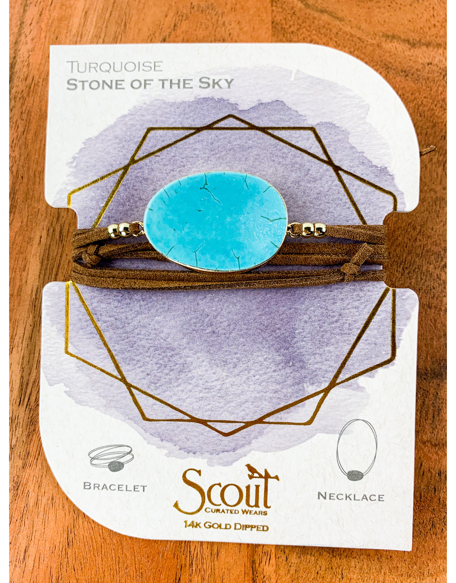 Suede Turquoise Gold Stone of Sky