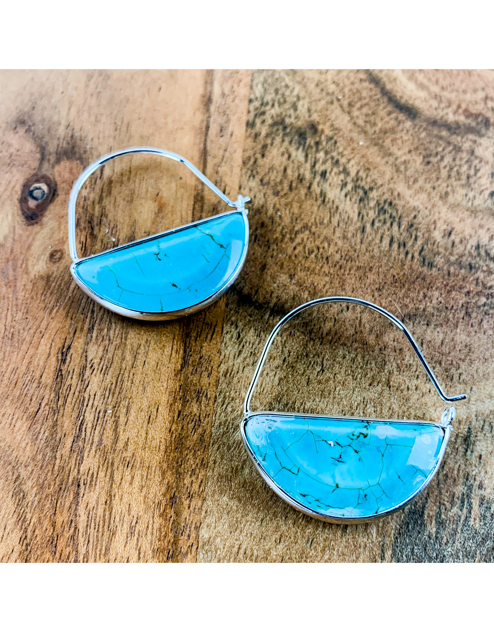 Turquoise Silver Stone Prism Hoop