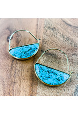 Turquoise Gold Stone Prism Hoops
