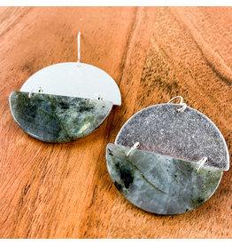 Labradorite Silver Full Moon Earrings