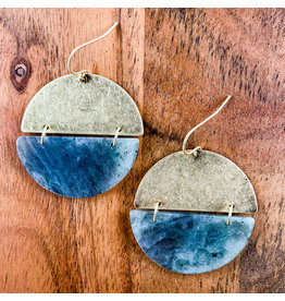 Labradorite Gold Full Moon Earrings