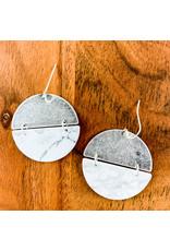 Howlite Silver Full Moon Earrings