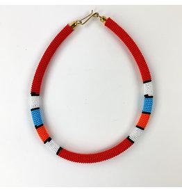 Nashipai Beaded Tube Necklace Red