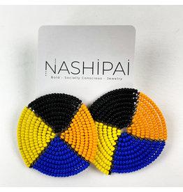 Nashipai Beaded Circle Stud Earrings Black Orange Blue Yellow