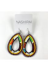 Nashipai Beaded Tear Drop Earrings in Multicolored