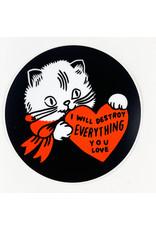 Stay Home Club Destroy Cat Vinyl Sticker