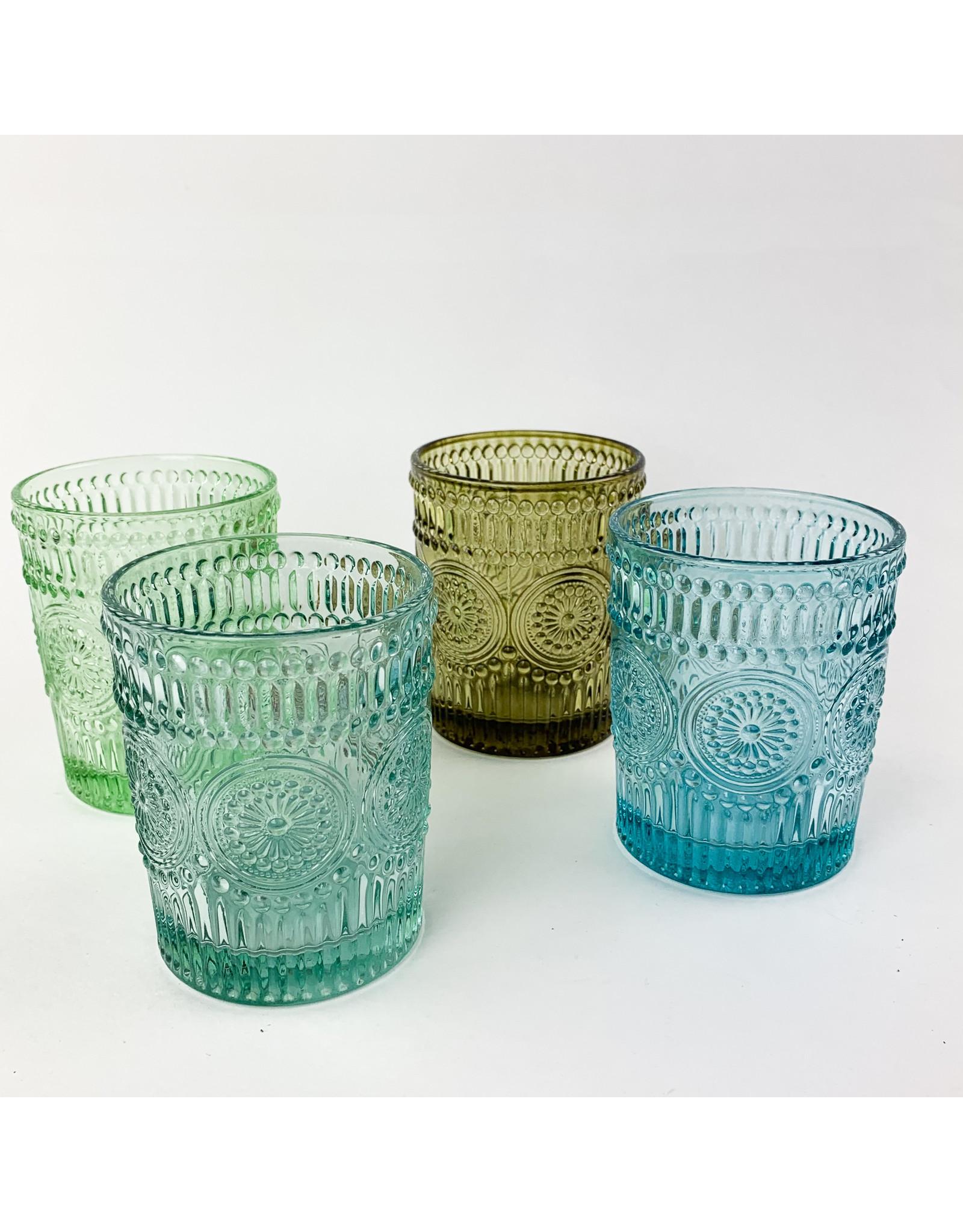 Creative Co-Op Embossed Drinking Glass Dark Blue