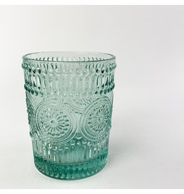 Creative Co-Op Embossed Drinking Glass Light Blue