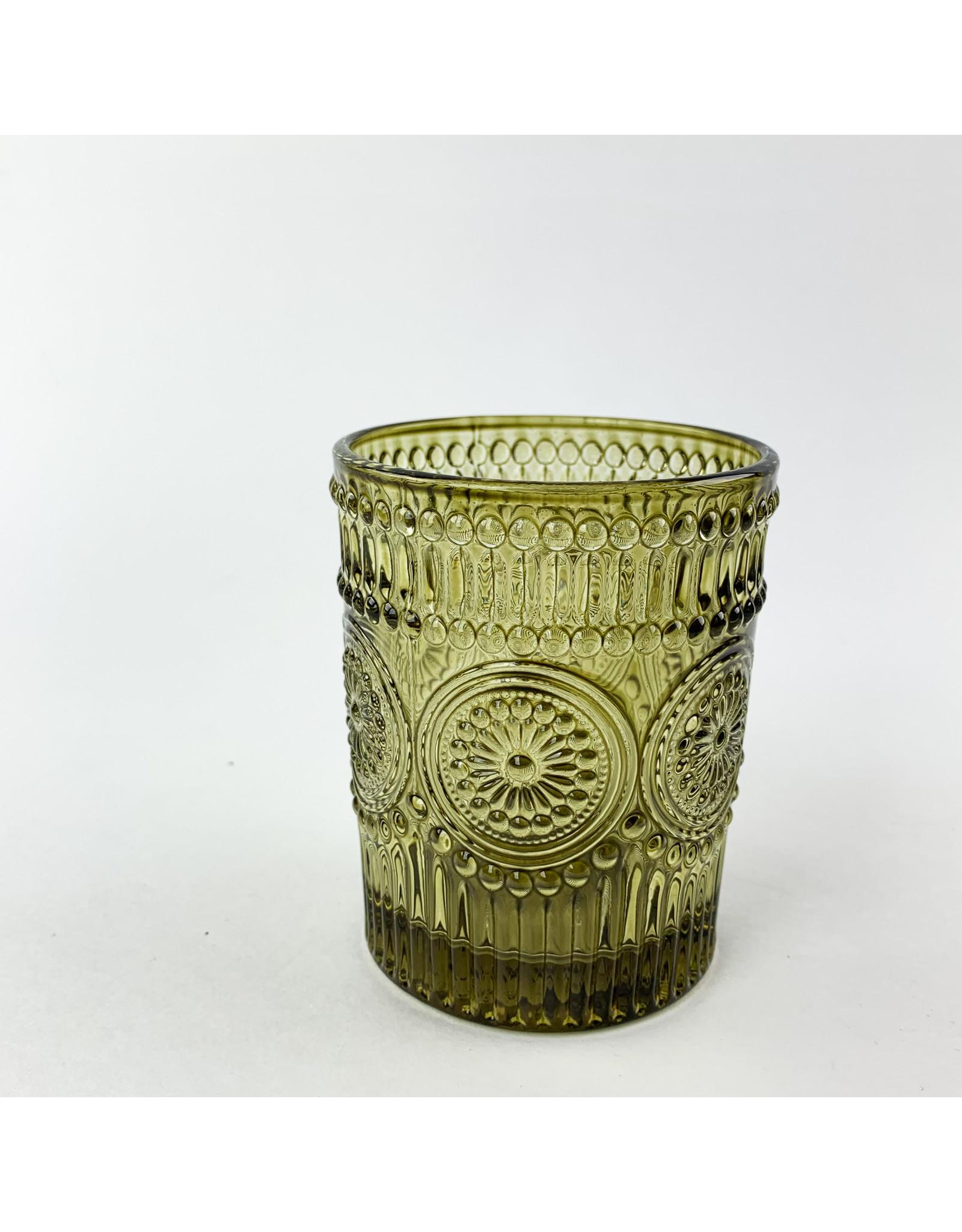 Creative Co-Op Embossed Drinking Glass Dark Green