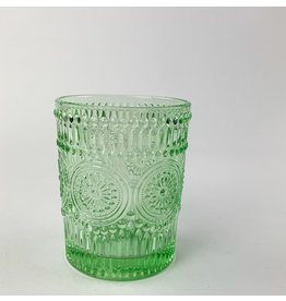 Creative Co-Op Embossed Drinking Glass Light Green