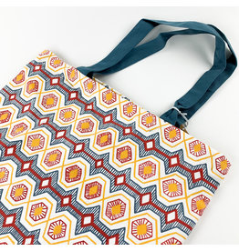 Creative Co-Op Blue and Gold Chain Stitch Tote