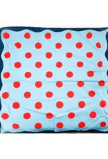 Creative Co-Op Cotton Printed Bandana Blue Polka Dot