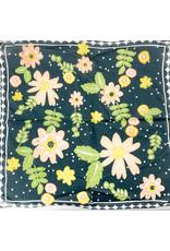 Creative Co-Op Cotton Printed Scarves Black Floral