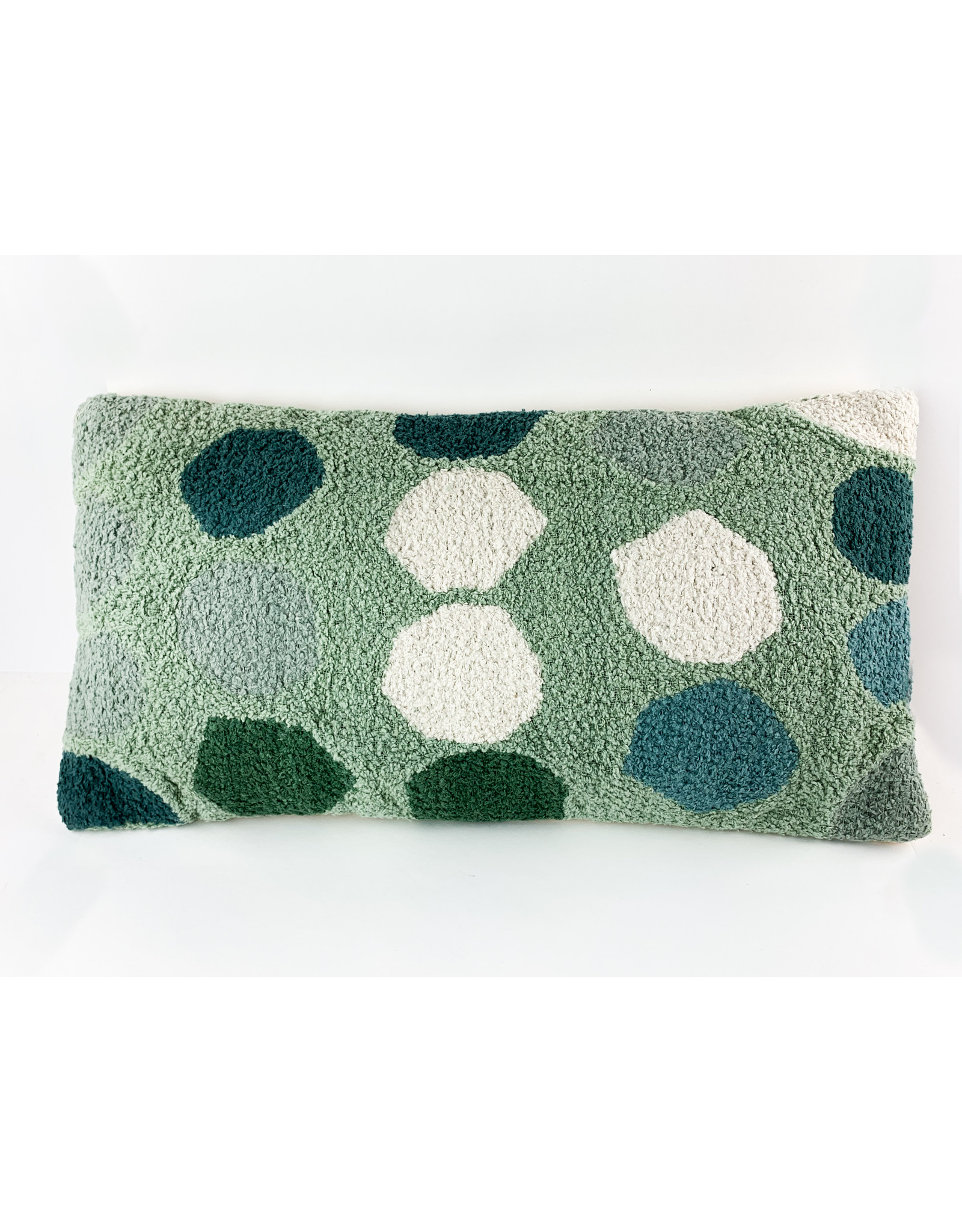 Creative Co-Op 24 x 12 Green Lumbar With Dots
