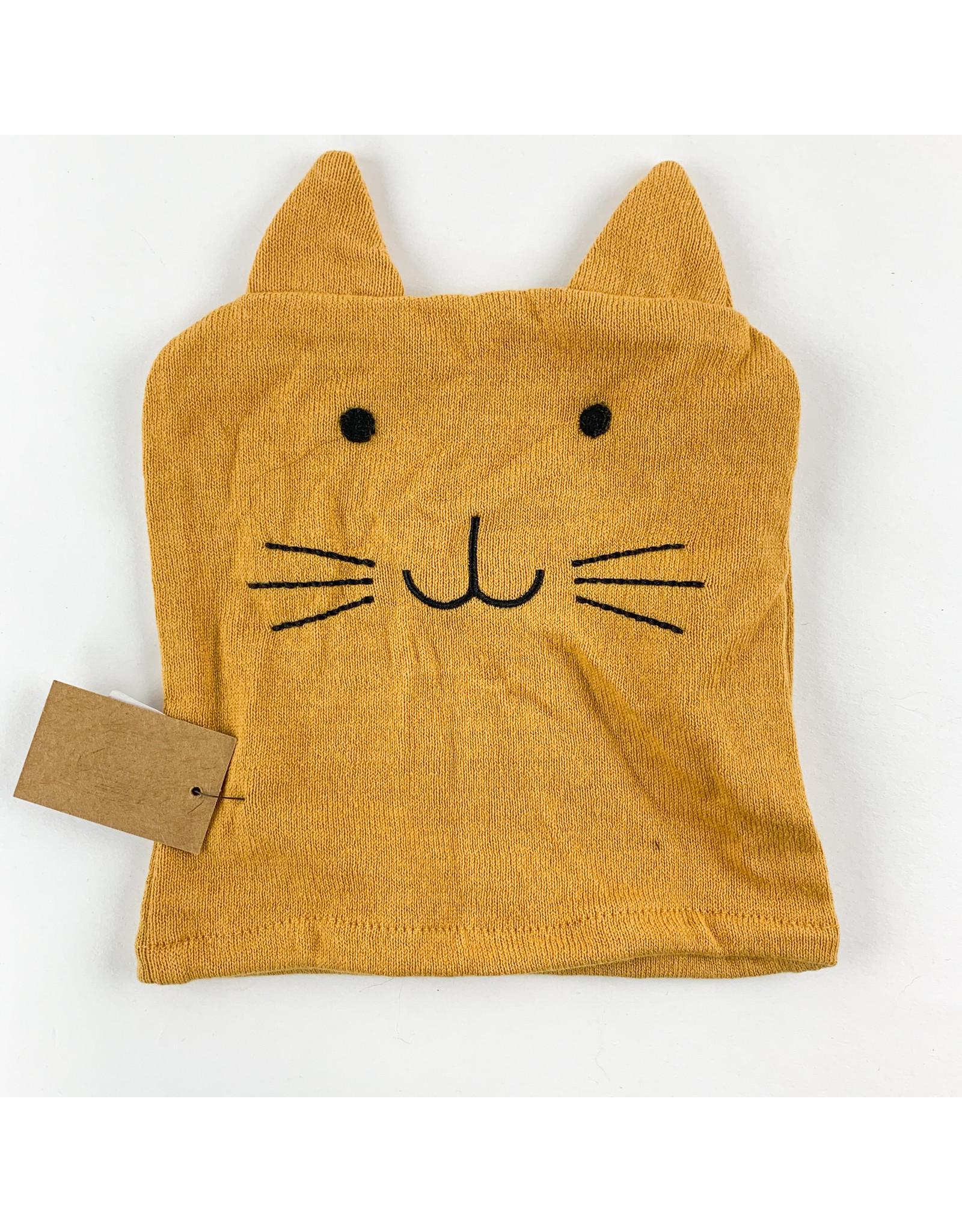 Creative Co-Op Cotton Knit Bath Mitt Yellow Cat