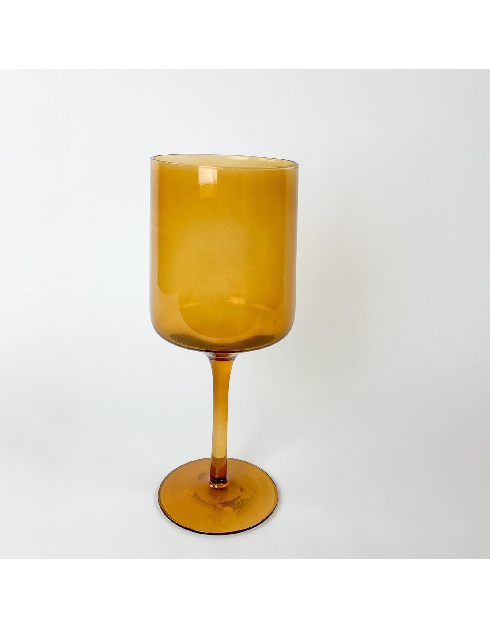 Creative Co-Op Drinking Glass Burnt Orange Stemmed