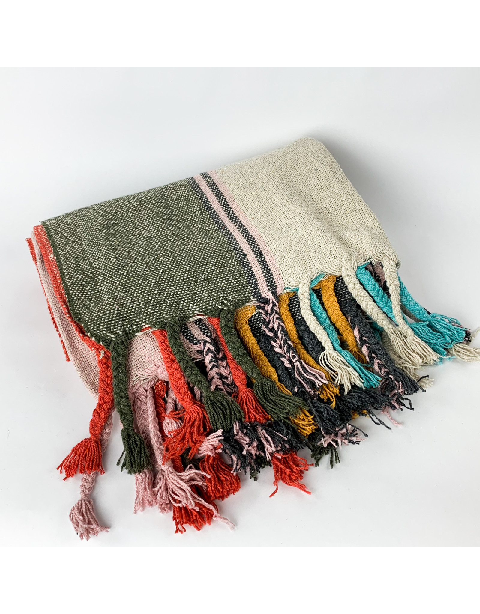 Creative Co-Op Recycled Cotton Striped Throw