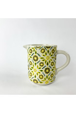 Creative Co-Op Stoneware Pitcher Floral Wax pattern