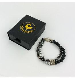 Renaissance Accessories Bracelet Black Malachite Black Lava Beads
