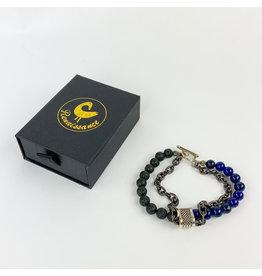 Renaissance Accessories Bracelet Lapis Black Lava Beads