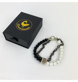 Renaissance Accessories Bracelet - Howlite Black Lava Beads