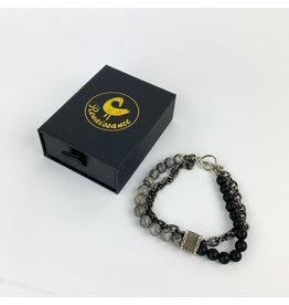 Renaissance Accessories Bracelet - Map Stone Black Lava Beads