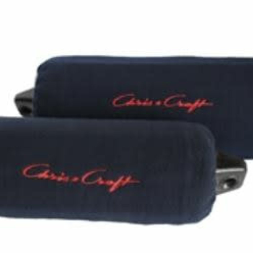 "Chris Craft 6.5"" x 22"" Fleece Fender Cover Pair - Navy w/ Red Logo"