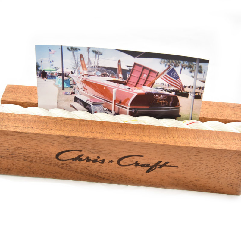 Chris Craft Mahogany and Nautical Rope Picture Holder