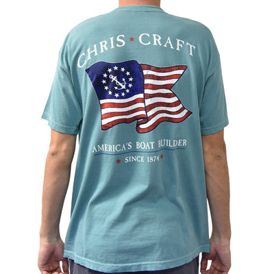 Chris Craft 13 Stars & Anchor Flag Chalky Mint S/S Shirt