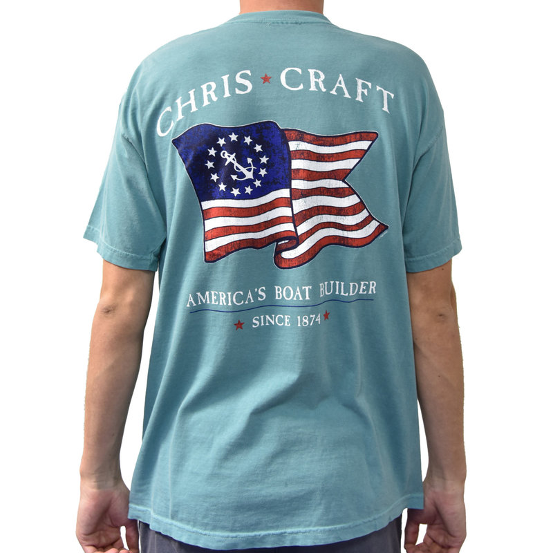 Chris Craft 13 Stars & Anchor Flag Chalky Mint S/S Shirt