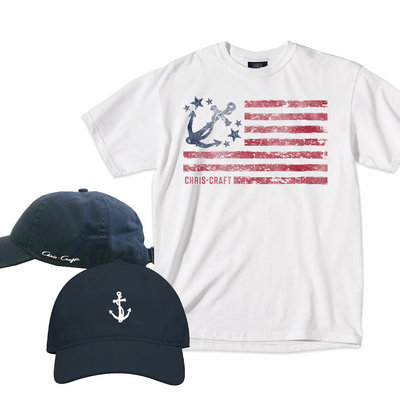 Chris Craft SHIRT, DUO (CAP/SHIRT) NAVY HAT/WHITE SHIRT