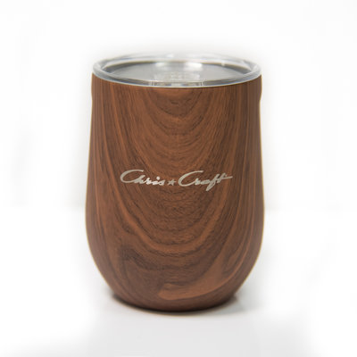 Chris Craft Corkcicle Stemless 12 oz Walnut Wood
