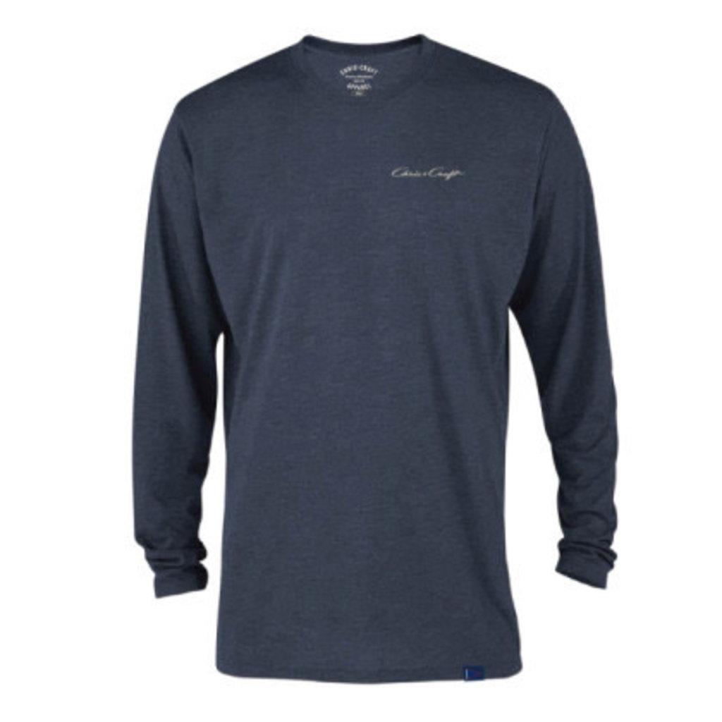 Chris Craft Classic Logo Tri-Blend Long Sleeve Shirt - Navy Heather