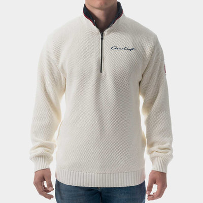 Chris Craft Classic Zip WindSweater - Off  White