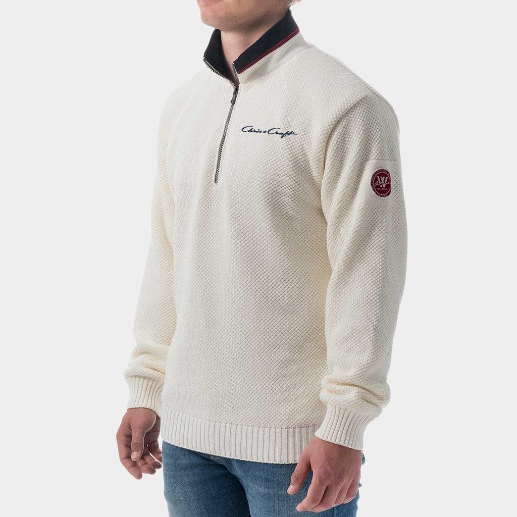 Chris Craft Classic Zip WindSweater - Off  White