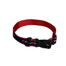 Chris Craft Chris Craft Dog Collar - Red Nylon Web with Navy Ribbon