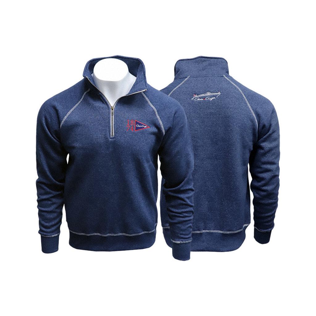 1/4 Zip Fleece Sweatshirt 1874 Pennant Flag Embroidered Heather Navy