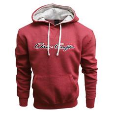 Hoodie Fleece Pullover Classic Logo Applique Heather Red