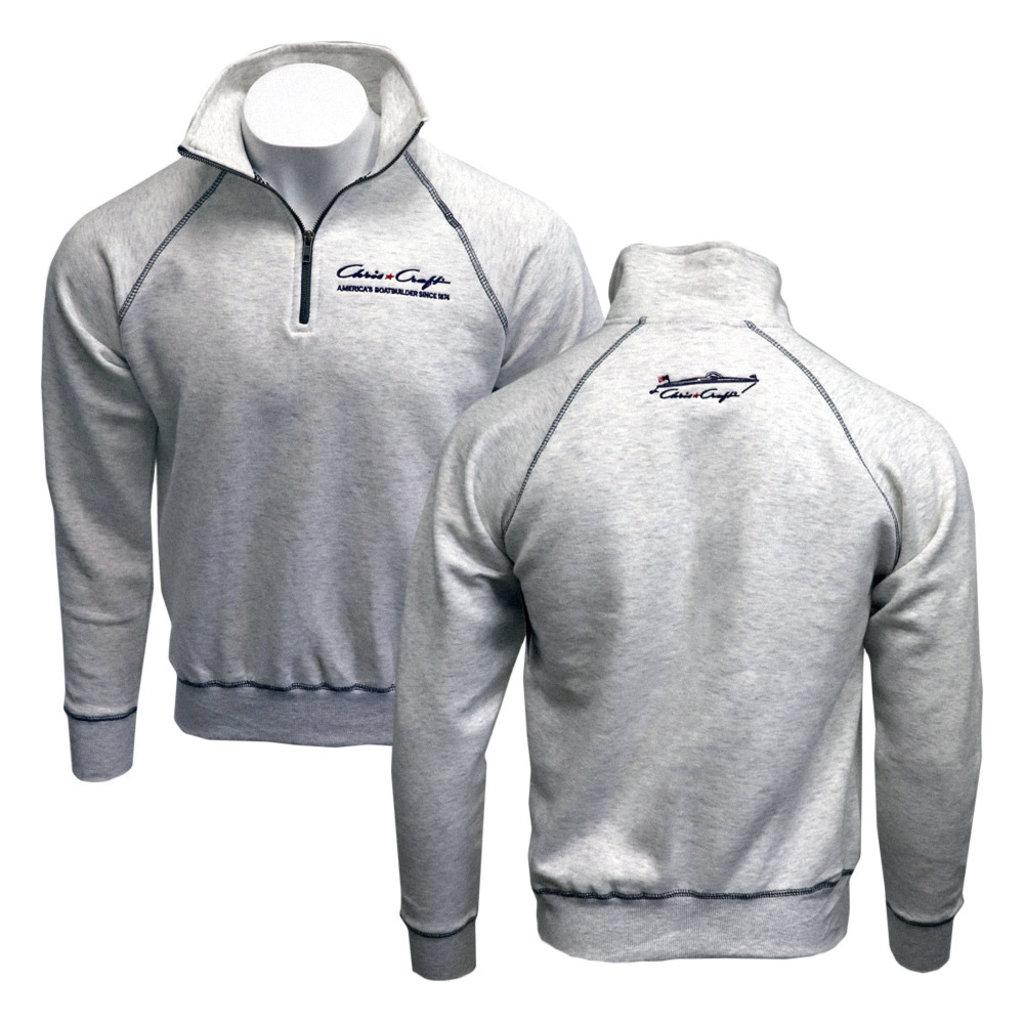 1/4 Zip Fleece Sweatshirt Classic Logo Embroidered Carbonite
