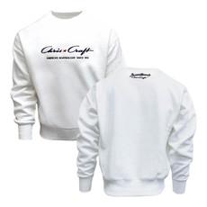 Crew Fleece Pullover Classic Logo Embroidered White