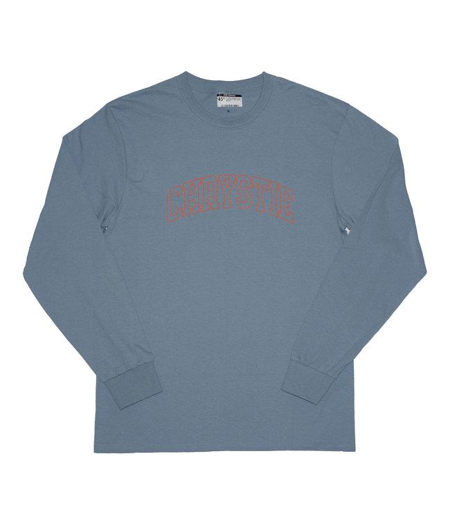 Chrystie Collegiate Logo Long Sleeve Shirt Stone Blue