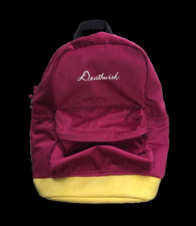 Deathwish Script Corduroy Burgundy  Backpack