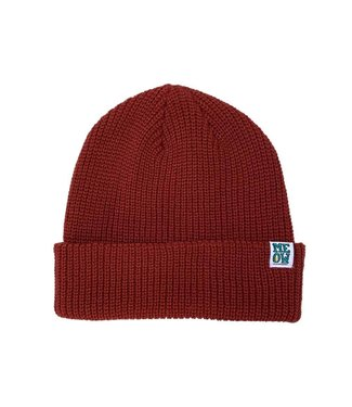 Meow Stacked Cuff Beanie Maroon