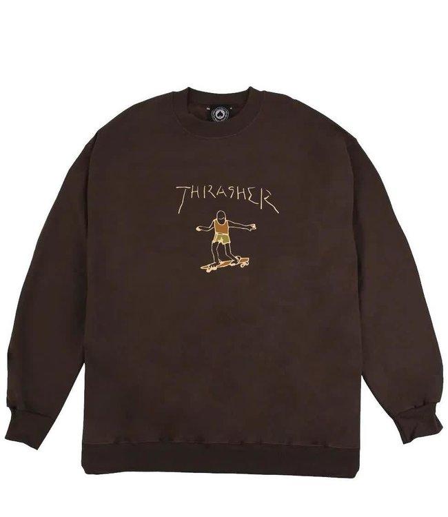 Thrasher Gonz Logo Crew Brown